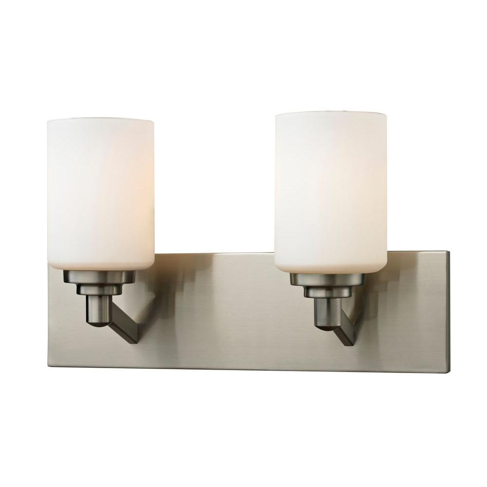 Chic 2-Light Brushed Nickel Bath Vanity Light