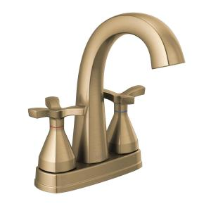 Stryke 4 in. Centerset 2-Handle Bathroom Faucet with Metal Drain Assembly in Champagne Bronze