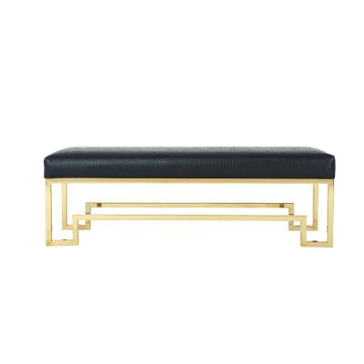 Rectangular Faux Leather Upholstered Bench in Black and Gold with Stainless Steel Base