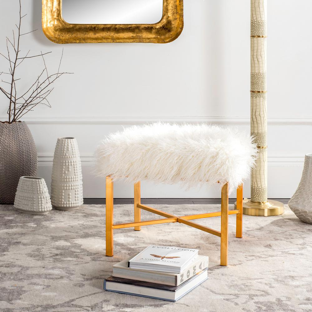 safavieh horace white gold bench fox6267b the home depot rh homedepot com white gold hotel & spa white gold hotel alanya turkey
