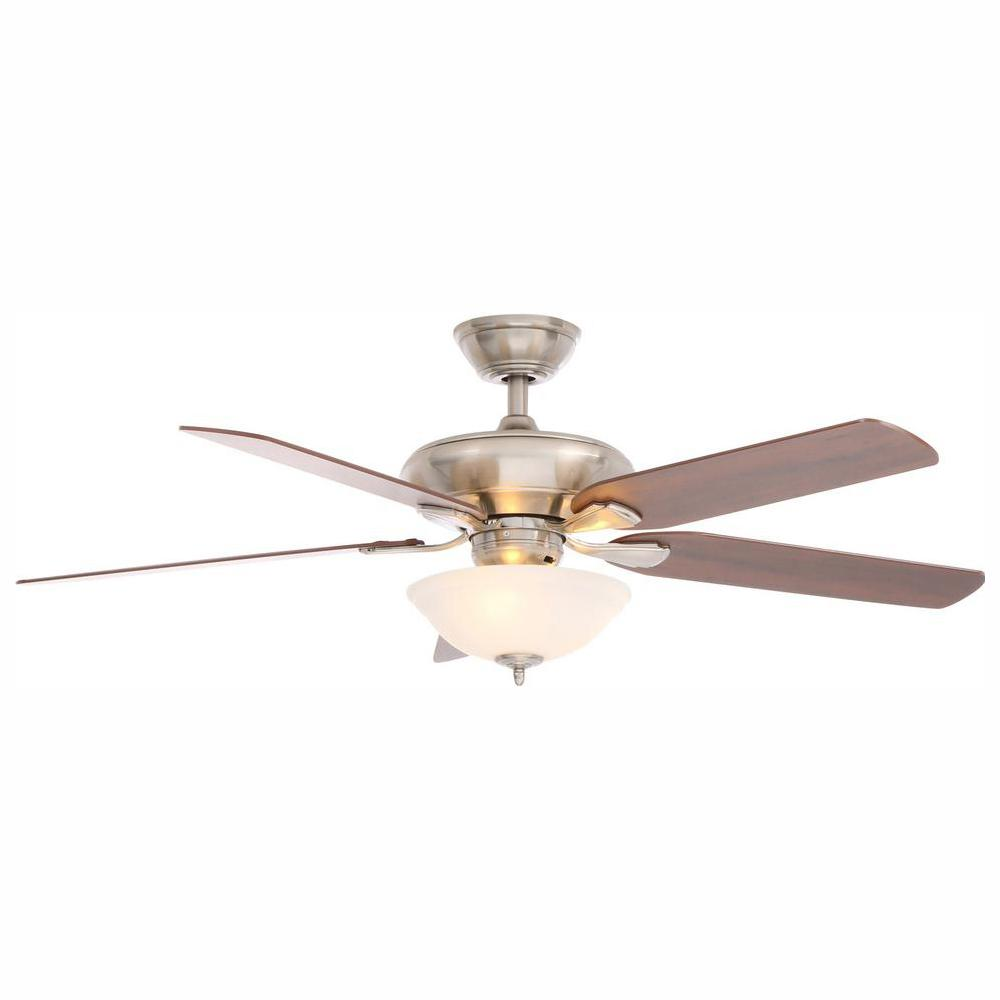 Hampton Bay Flowe 52 in. LED Indoor Brushed Nickel Ceiling Fan with on