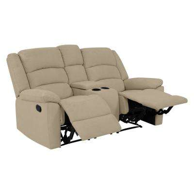 2-Seat Wall Hugger Recliner Loveseat with Power Storage Console in Barley Tan Plush Low-Pile Velvet