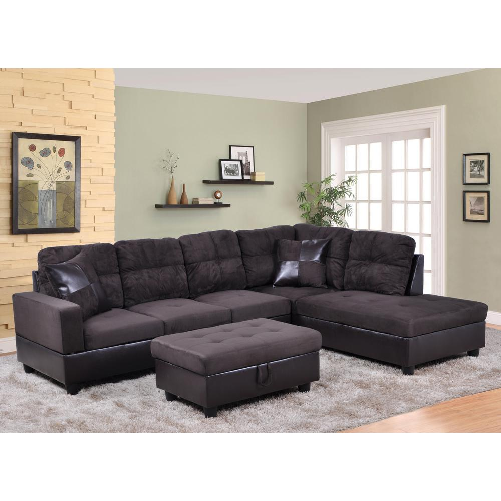 Brown Right Chaise Sectional With Storage Ottoman Sh105b