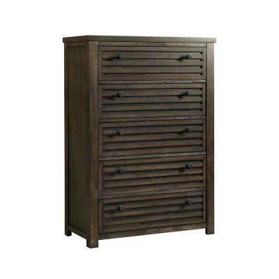 Montego 5-Drawer Dark Walnut Chest