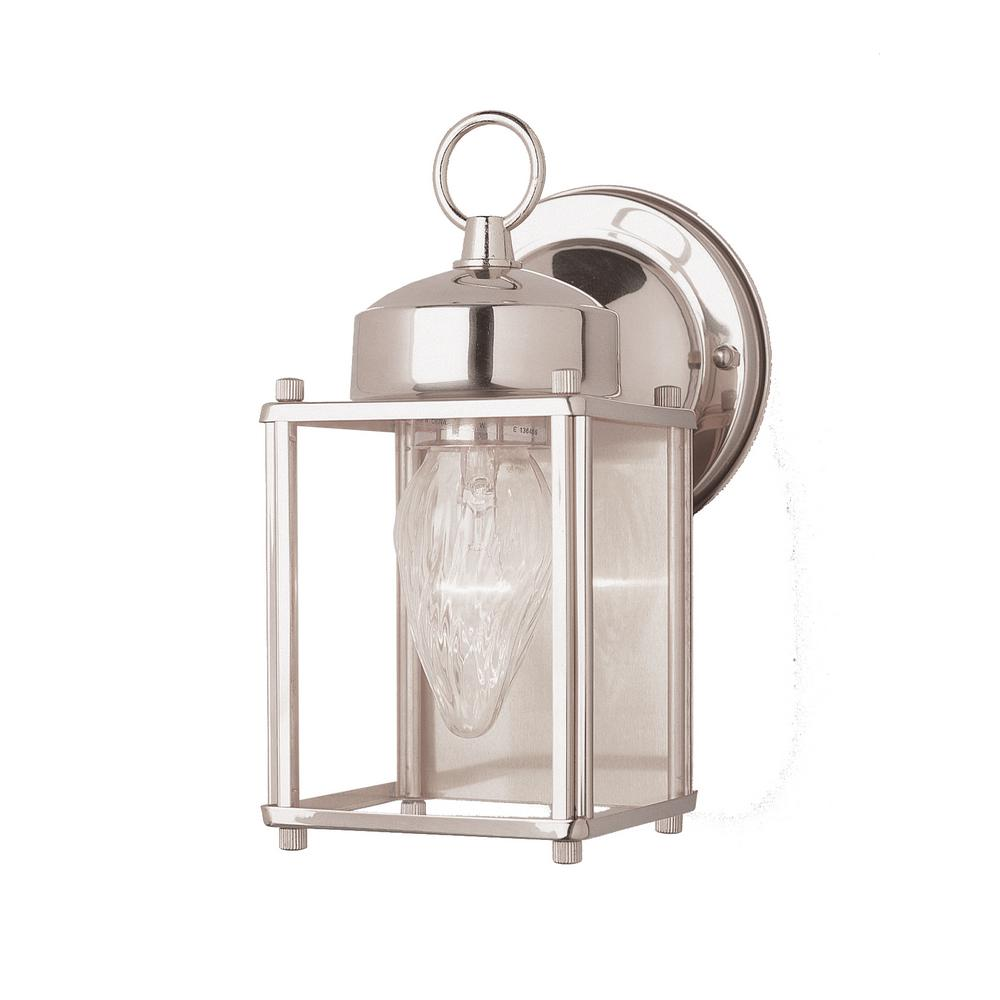Century 1-Light Brushed Nickel Outdoor Wall Mount Lantern