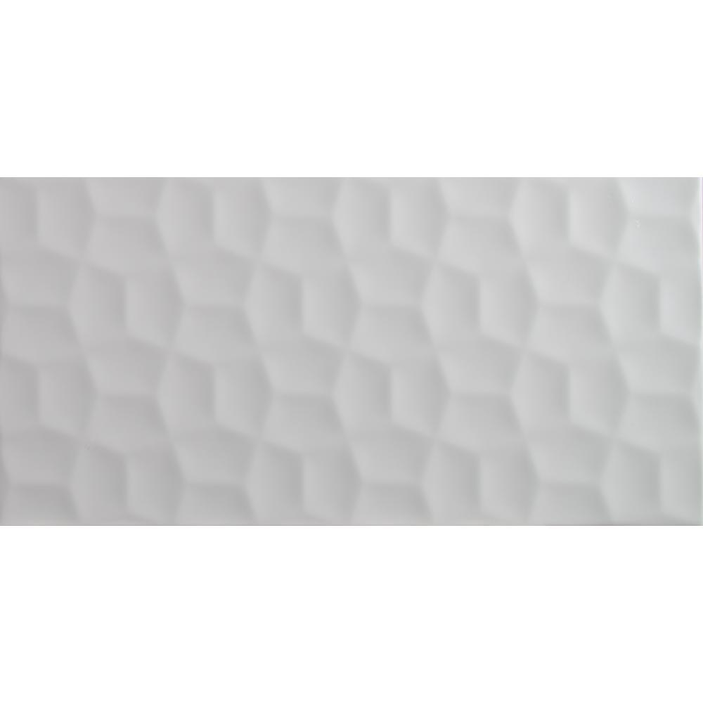 Adella Viso White 12 in. x 24 in. Glazed Ceramic Wall