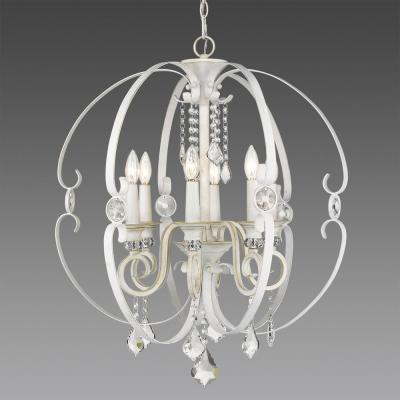Ella 6-Light French White Chandelier Light