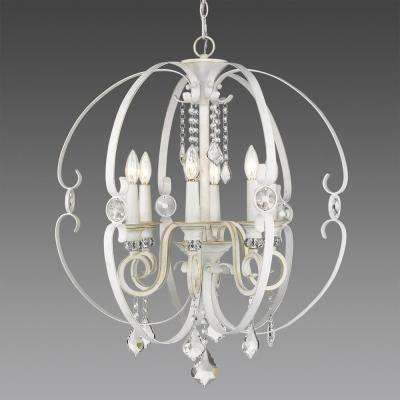 White chandeliers lighting the home depot ella 6 light french white chandelier light mozeypictures Gallery