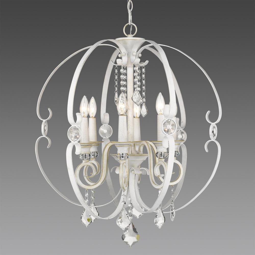 Ella 6-Light French White Chandelier Light