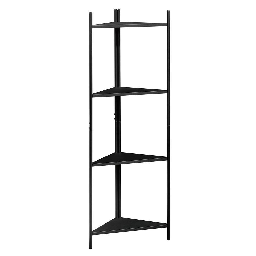 47.5 in. Black Metal 4-shelf Corner Accent Bookcase