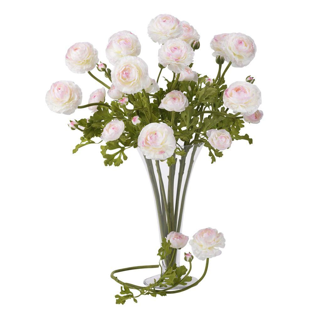 23 In H White And Pink Ranunculus Stem Set Of 12 2108 Wp The