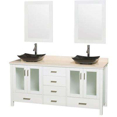 Lucy 72 in. Double Vanity in White with Marble Vanity Top in Ivory, Black Granite Sinks and 24 in. Mirrors