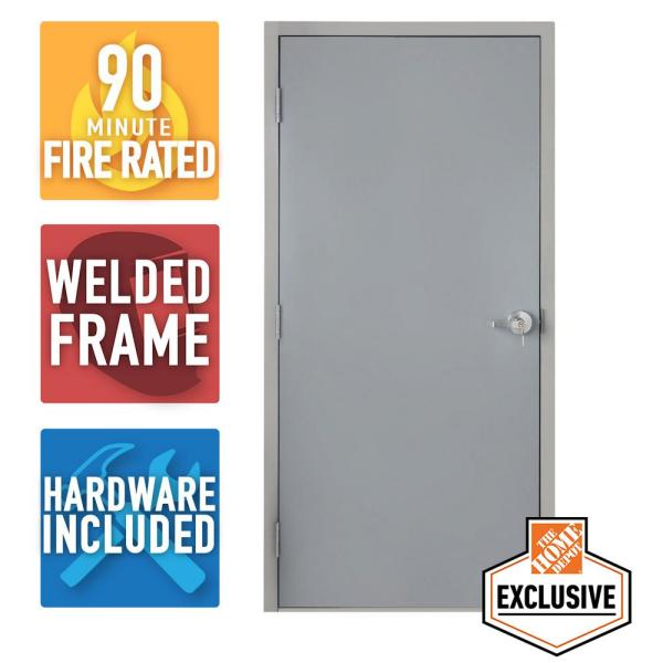 36 in. x 80 in. Fire-Rated Gray Right-Hand Flush Entrance Steel Prehung Commercial Door with Welded Frame and Hardware