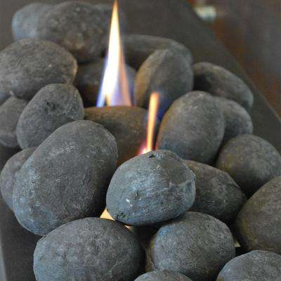 2 in. Black Ceramic Gel Fireplace Logs Stones (25-Piece)
