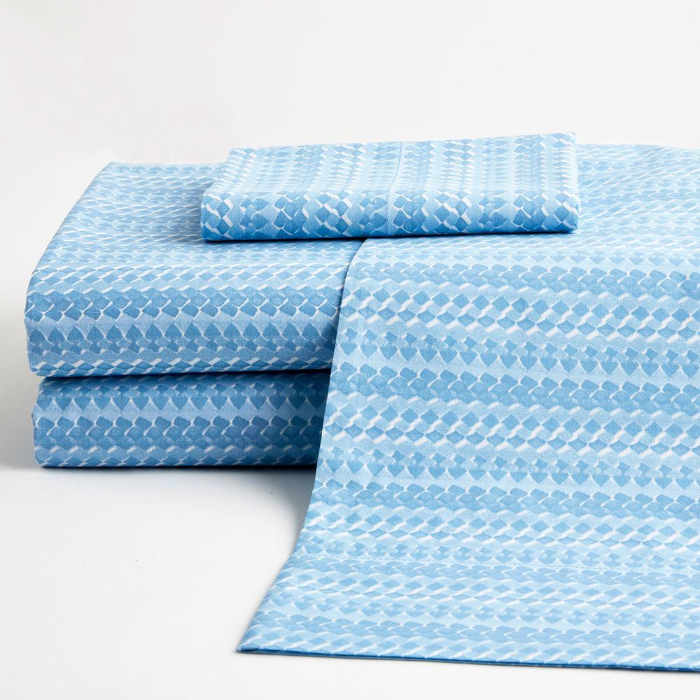 Rylie Stripe 3-Piece Blue 200-Thread Count Cotton Percale Twin XL Sheet Set