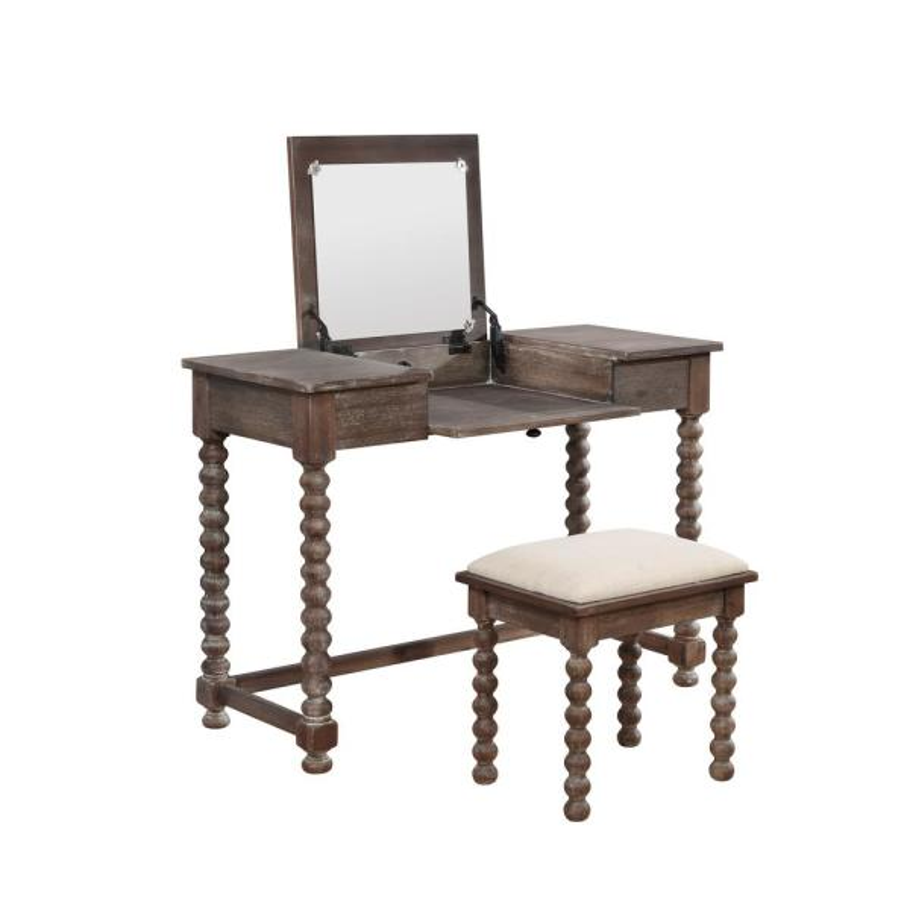 Linon Home Decor Ashley Antique Brown Spindle Vanity Set