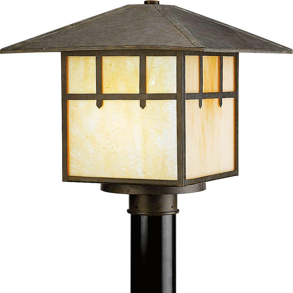 Progress Lighting Mission Collection 1 Light Weathered Bronze Post  Lantern P5461 46   The Home Depot