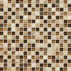 Stone Radiance Caramel Travertino 12 in. x 12 in. x 8 mm Glass and Stone Mosaic Blend Wall Tile