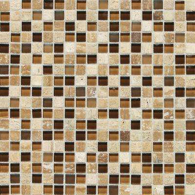 Stone Radiance Caramel Travertino 12 in. x 12 in. x 8 mm Glass and Stone Mosaic Blend Wall Tile (1 sq. ft. / piece)