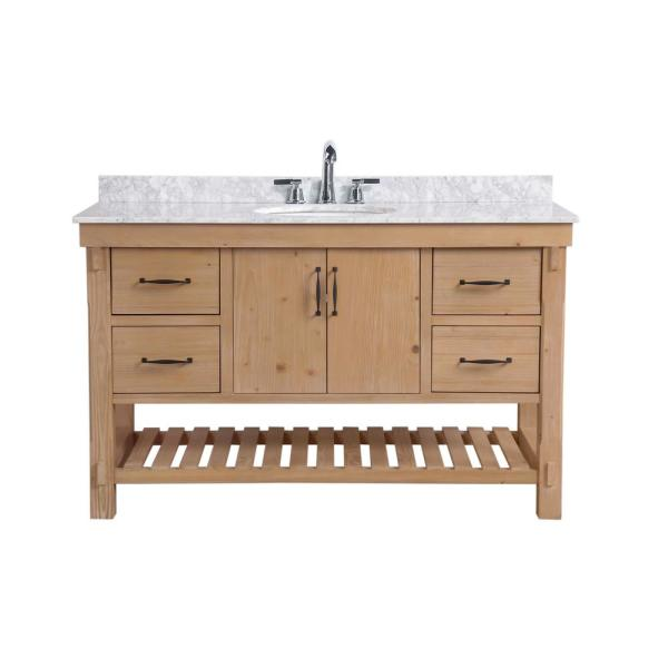 Ari Kitchen And Bath Marina 55 In Single Bath Vanity In Driftwood With Marble Vanity Top In Carrara White With White Basin Akb Marina 55dw The Home Depot