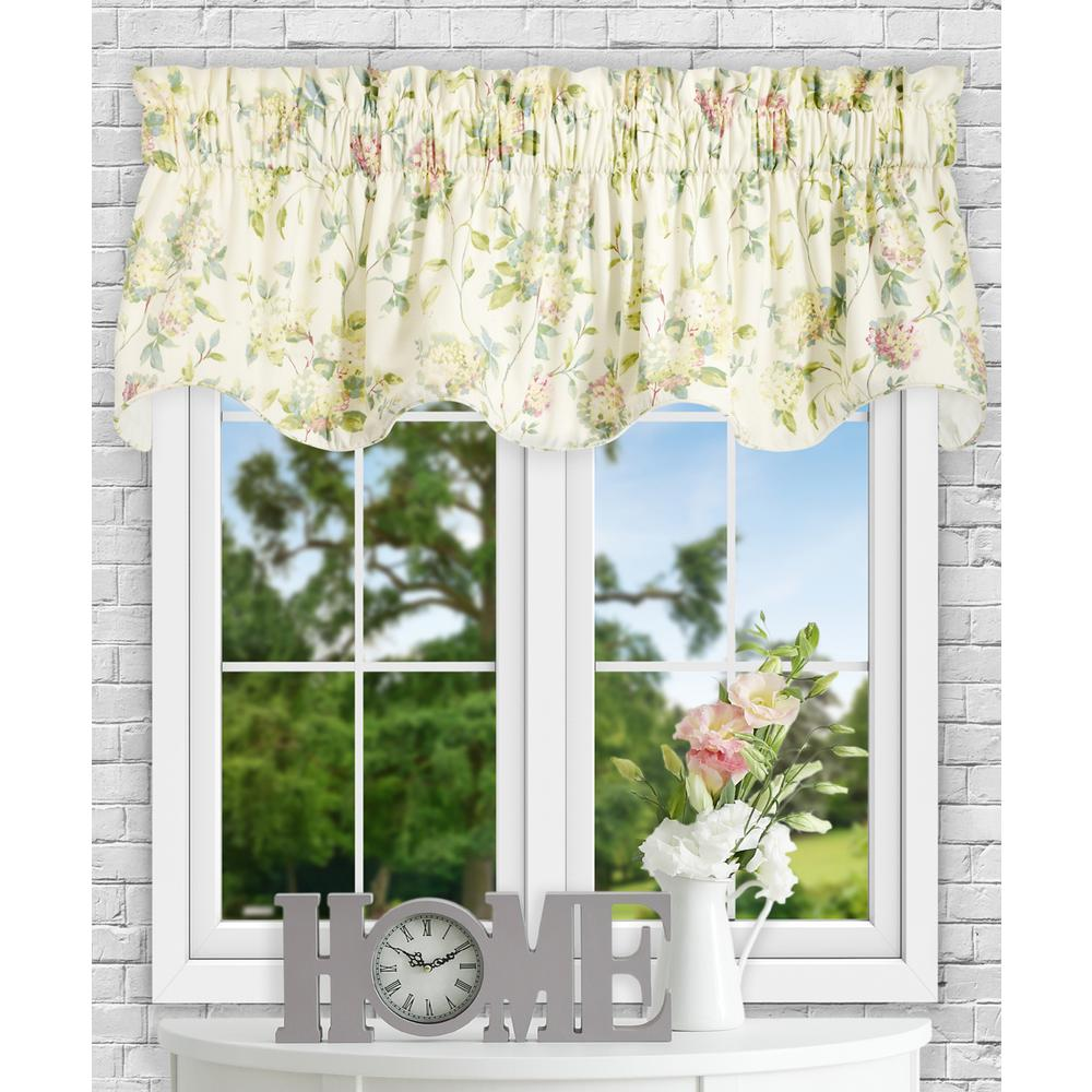 Ellis Curtain Abigail 17 in L Polyester/Cotton Lined Scallop Valance in  Multi