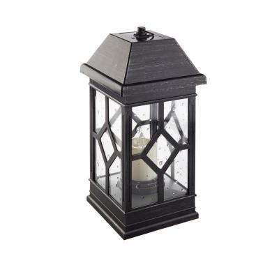 San Felipe II 15 in. 2-Light Pewter Integrated LED Solar Candle Lantern