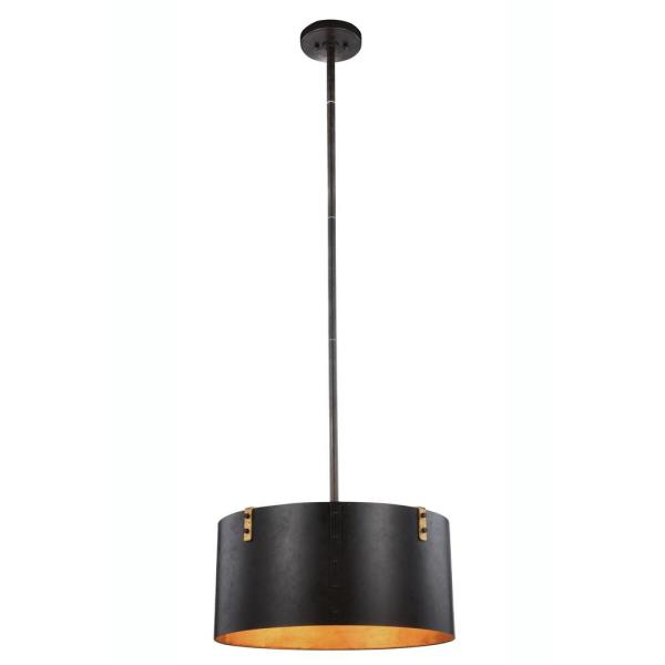 Timeless Home 20 in. L x 20 in. W x 57 in. H 3-Light Vintage Bronze and Golden Iron Contemporary Pendant