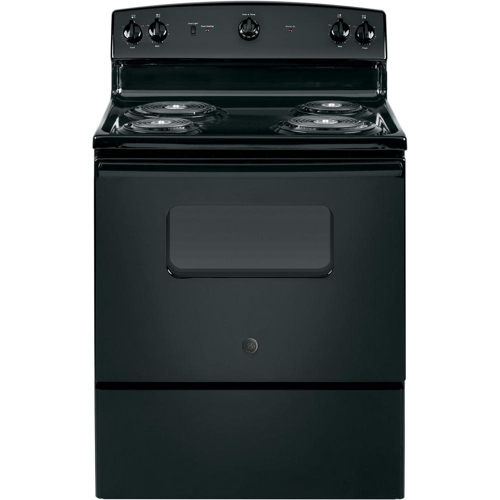 30 in. 5.0 cu. ft. Electric Range in Black GE appliances provide up-to-date technology and exceptional quality to simplify the way you live. With a timeless appearance, this family of appliances is ideal for your family. And, coming from one of the most trusted names in America, you know that this entire selection of appliances is as advanced as it is practical. Color: Black.