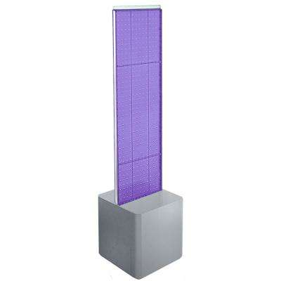 60 in. H x 13.5 in. W 2-Sided Pegboard Floor Display on Silver Studio Base