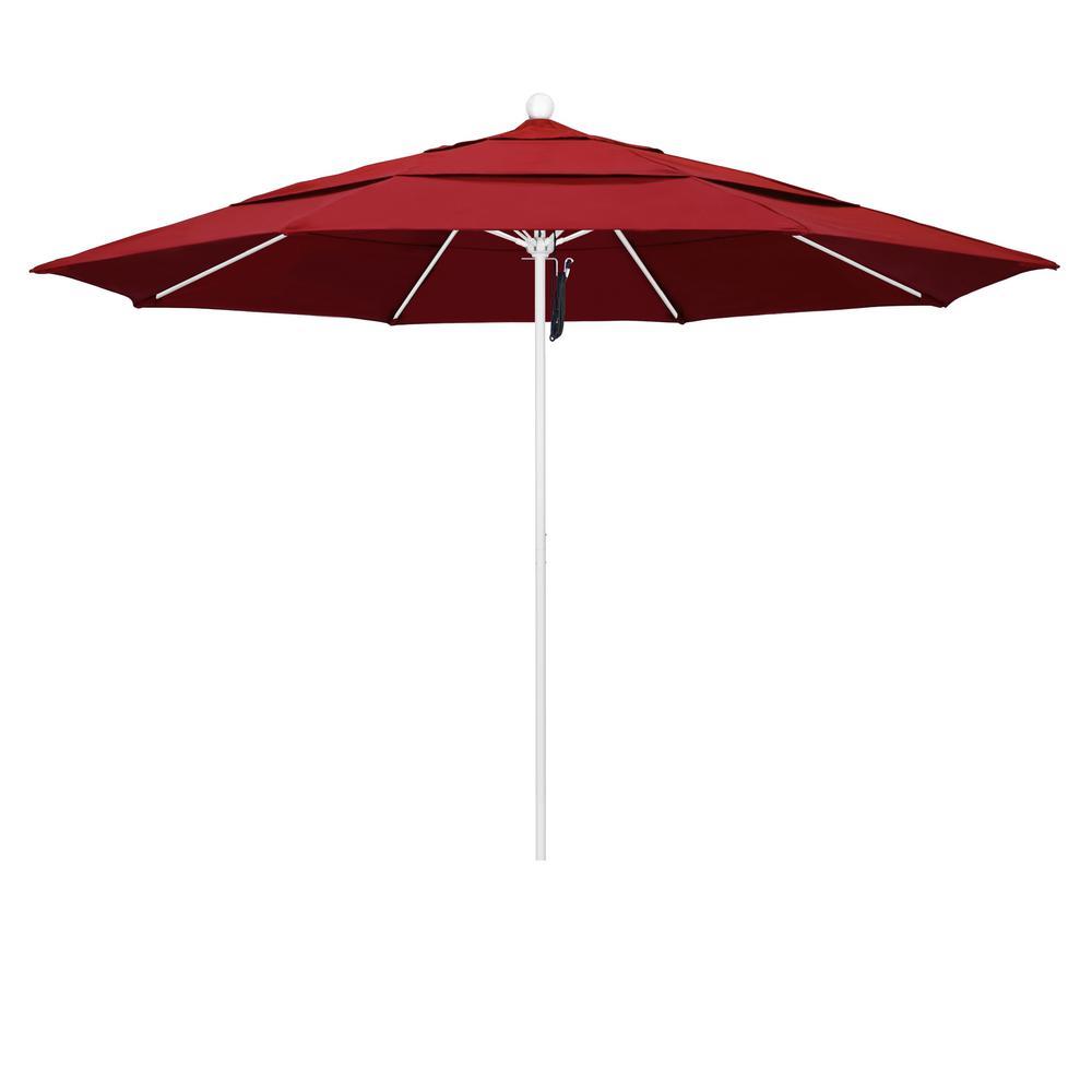11 ft. Matted White Fiberglass Market Patio Umbrella PO DVent in Red Olefin