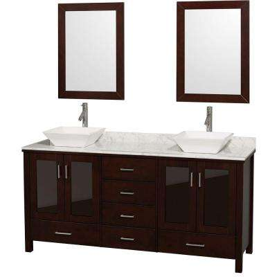 Lucy 72 in. Vanity in Espresso with Marble Vanity Top in Carrara White and Mirrors