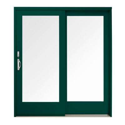 59 in. x 80 in. 400 Series Frenchwood Forest Green Right-Hand Sliding Patio Door, Pine Interior, Low-E SmartSun Glass
