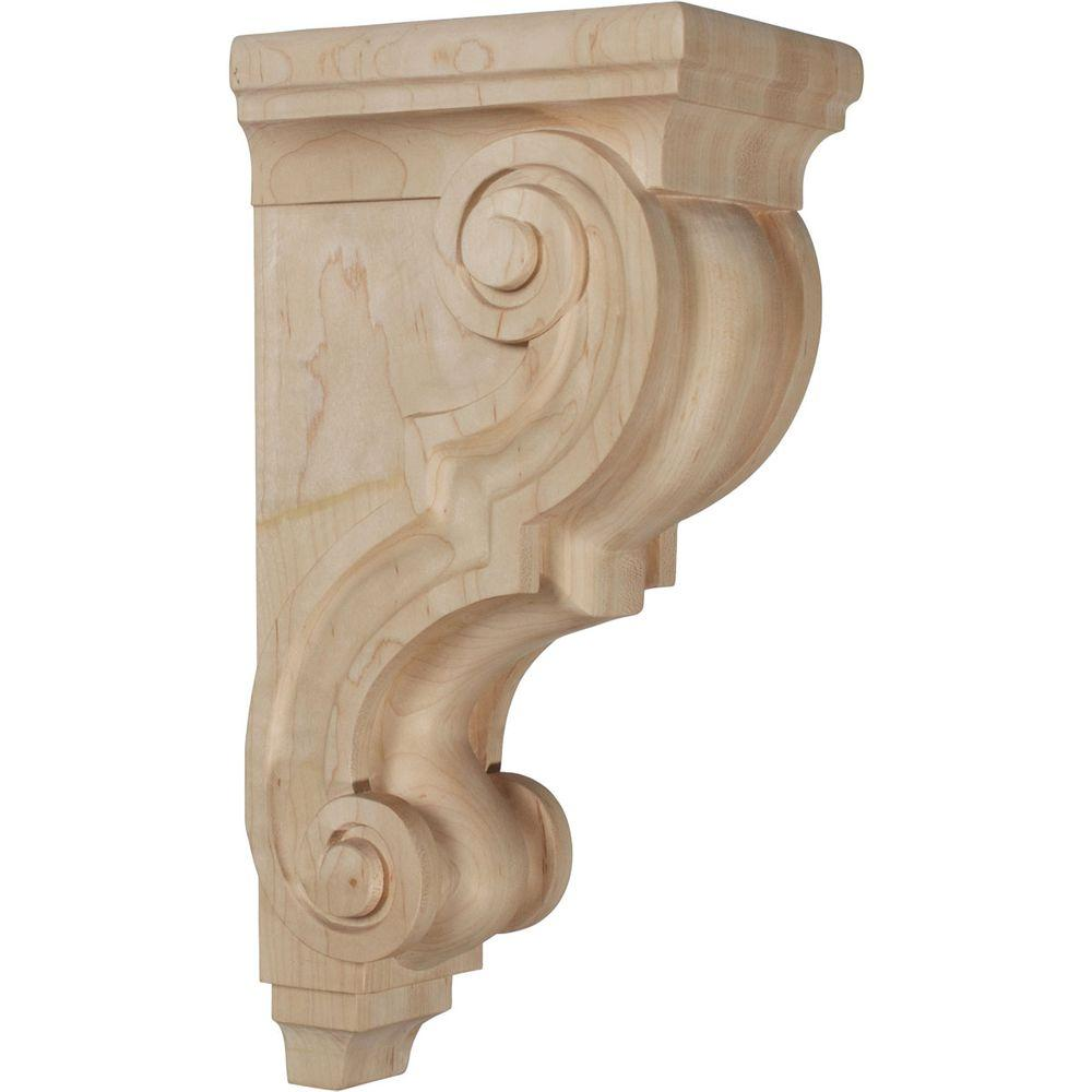 Ekena Millwork 6-3/4 in. x 5 in. x 14 in. Unfinished Wood Cherry Large Traditional Wood Corbel