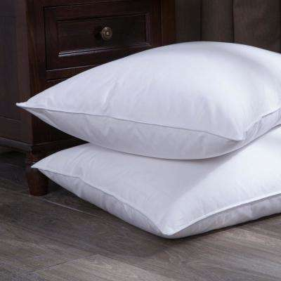 Puredown White Goose Down and Feather Bed Lumbo Pillow in Twin Pack Standard/Queen in White