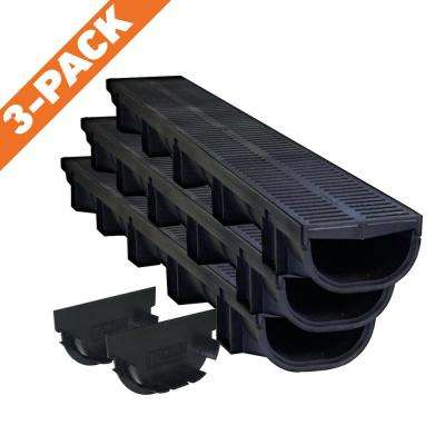 Compact Series 5.4 in. W x 3.2 in. D x 39.4 in. L Trench and Channel Drain Kit w/ Black Grate (3-Pack : 9.8 ft)