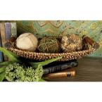 Dark Brown and Light Brown Tight Braid Seagrass Boat-Shaped Trays with Cherrywood Dowell Handles (Set of 3)