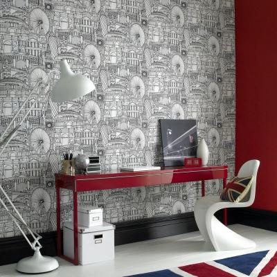 Londinium Black Wallpaper