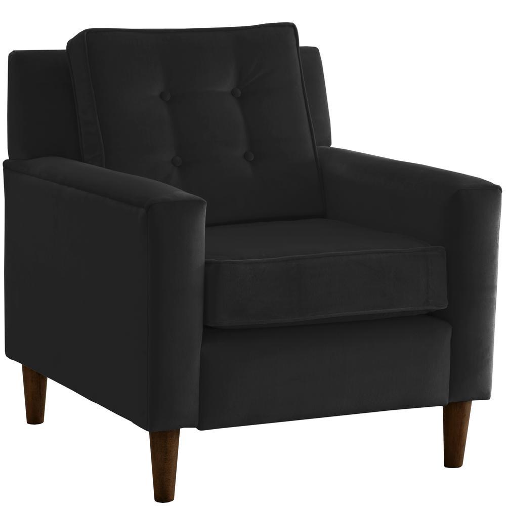 Velvet Black Arm Chair