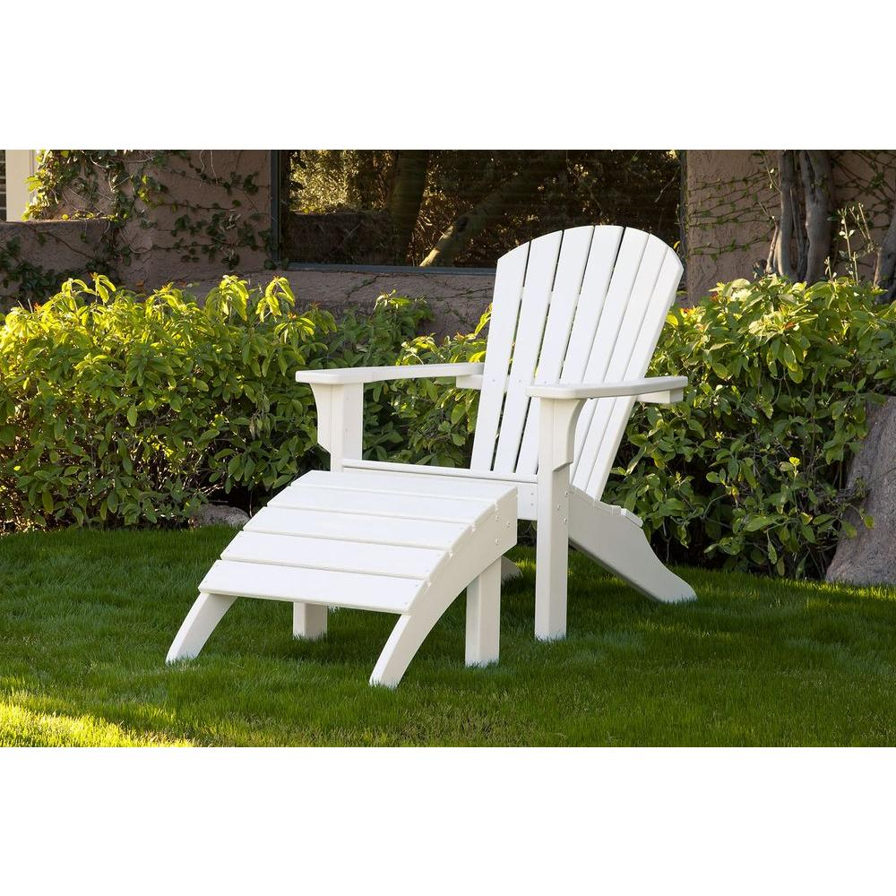 Ivy Terrace Classics White 2-Piece Shell Back Plastic Patio Adirondack Chair