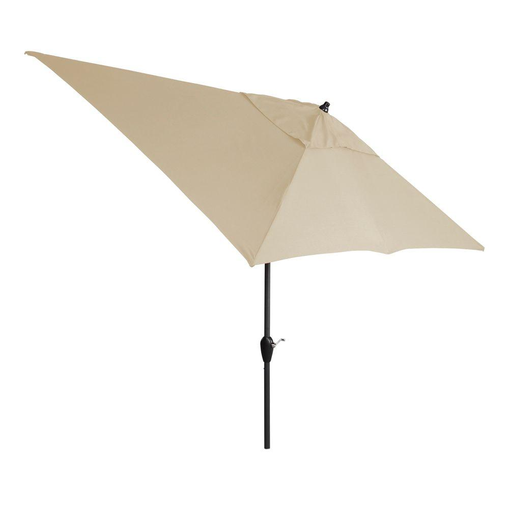 Hampton Bay 10 Ft. X 6 Ft. Aluminum Patio Umbrella In Sunbrella Spectrum  Sand