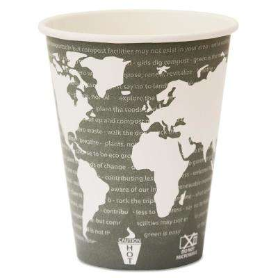 12 oz. World Art Renewable Resource Compostable Hot Drink Cups in Green (1000 Per Case)