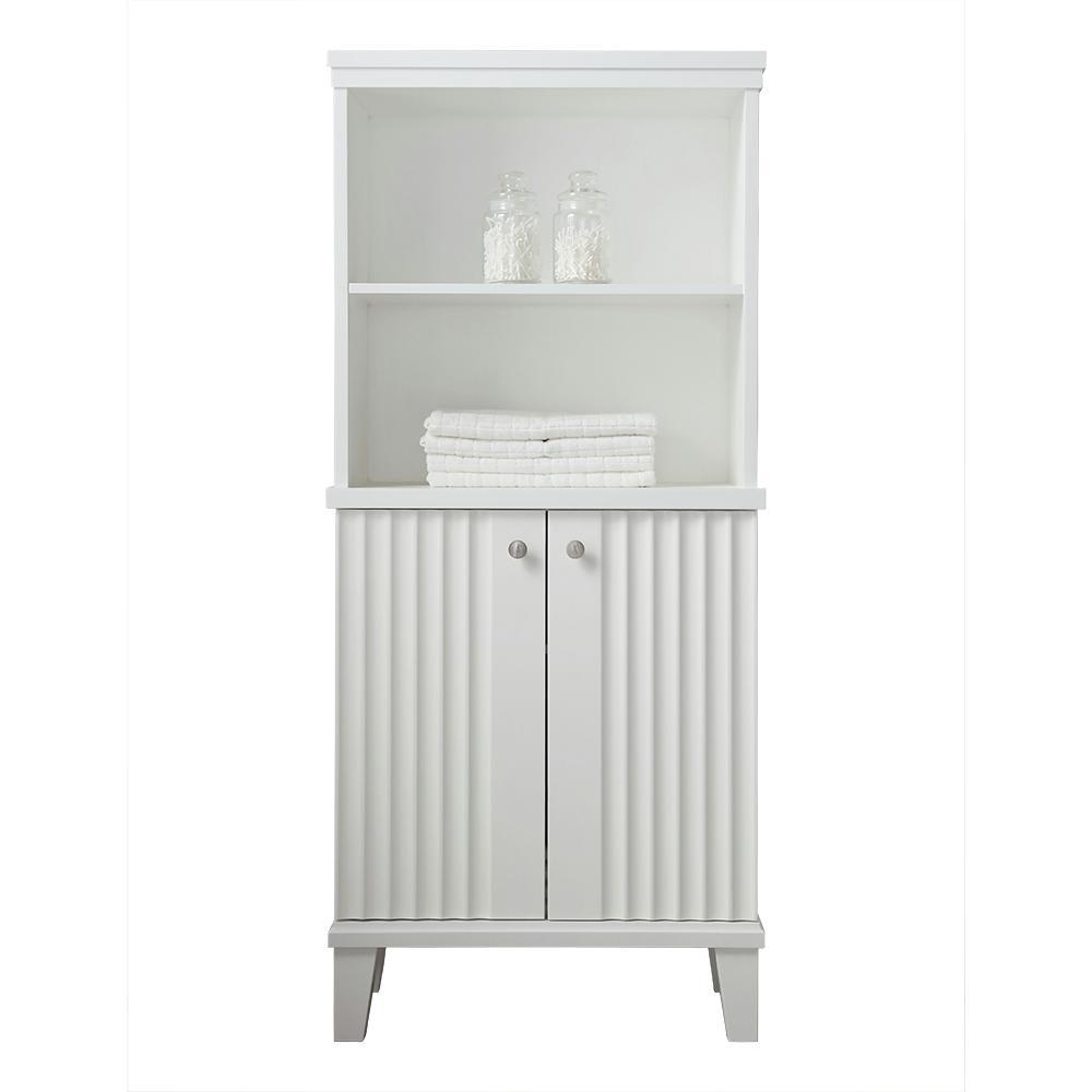 Martha Stewart Living Parker 26.56 in. W x 14.19 in. D x 60 in. H Double Door Tall Side Unit in White