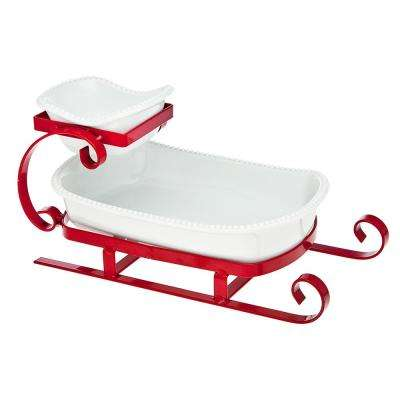 Metal Sleigh 2-Tier Chip and Dip