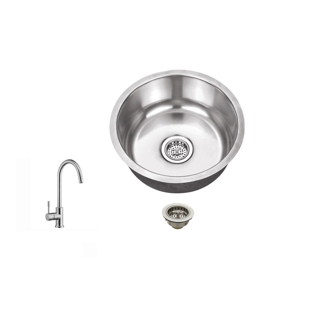 High Quality IPT Sink Company Undermount 17 In. 18 Gauge Stainless Steel Bar Sink In  Brushed Stainless With Gooseneck Kitchen Faucet IPTSBRP805   The Home Depot