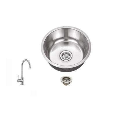 Undermount 17 in. 18-Gauge Stainless Steel Bar Sink in Brushed Stainless with Gooseneck Kitchen Faucet