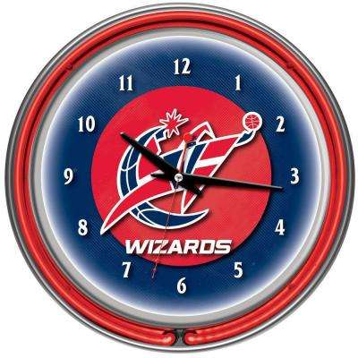 14 in. Washington Wizards NBA Chrome Double Ring Neon Wall Clock