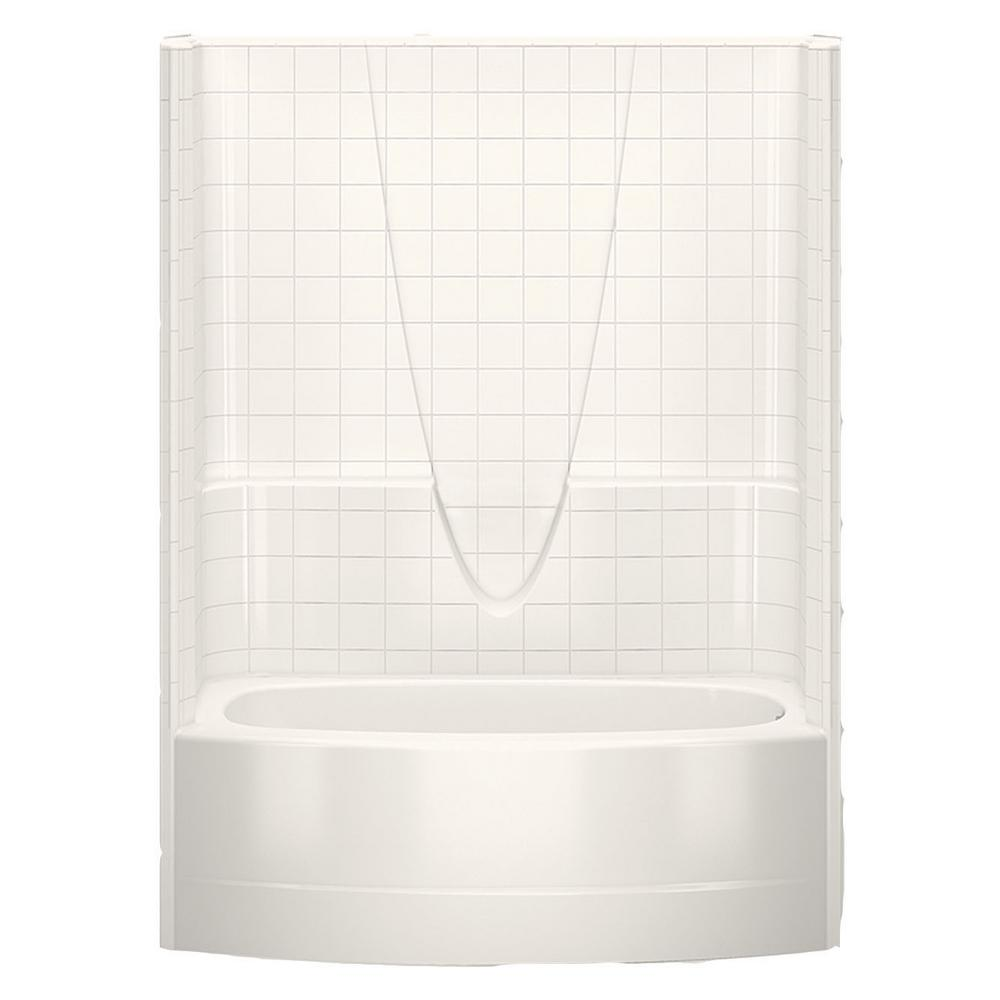 Aquatic Everyday Smooth Tile 60 in. x 36.3 in. x 77.3 in. 1-Piece ...
