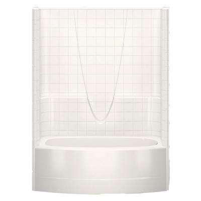Everyday Smooth Tile 60 in. x 36.3 in. x 77.3 in. 1-Piece Curved Bath and Shower Kit with Right Drain in Bone