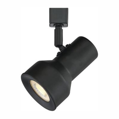 Medium 1-Light Solid Black Step Cylinder Integrated LED Track Lighting Head