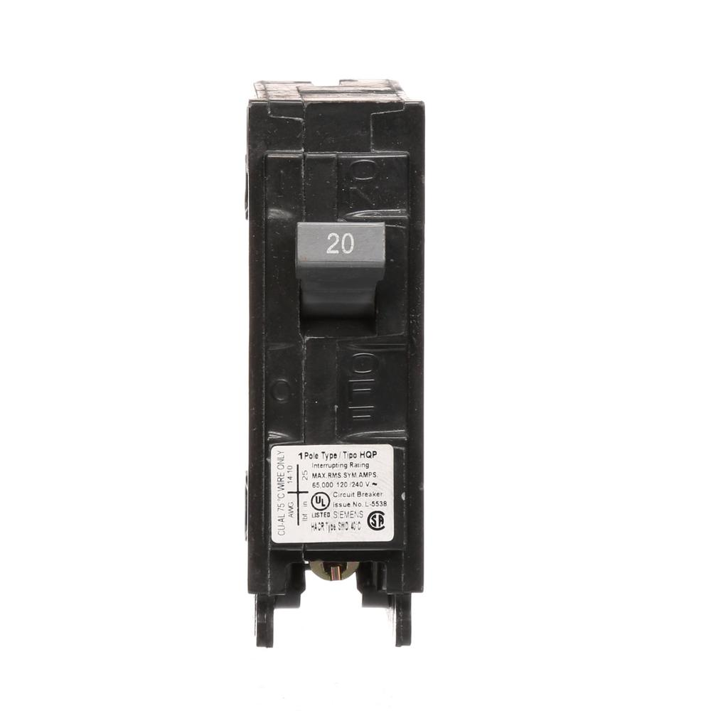 siemens 20 amp 1 pole 65 ka type hqp circuit breaker q120hh the home depot. Black Bedroom Furniture Sets. Home Design Ideas